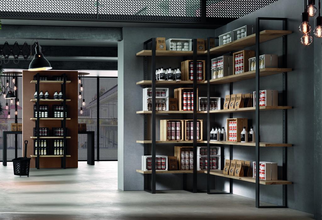 libreria componibile industrial dispensa cucina angolare